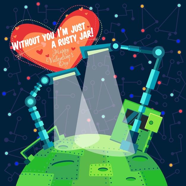 Vektorillustration über roboter für valentinstag Premium Vektoren