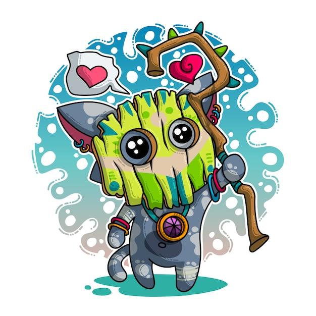 Vektorillustration über shaman in der liebe Premium Vektoren