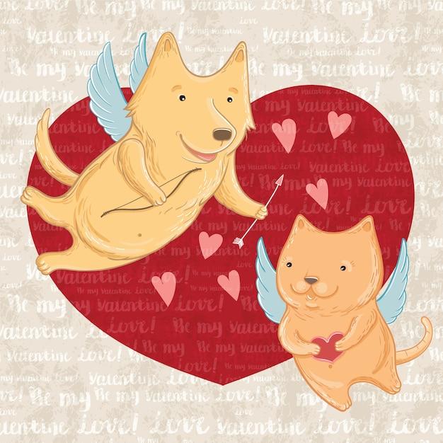 Vektorillustration von cupid hund und katze, gruß valentinstag. vorlage für grußkarten. Premium Vektoren