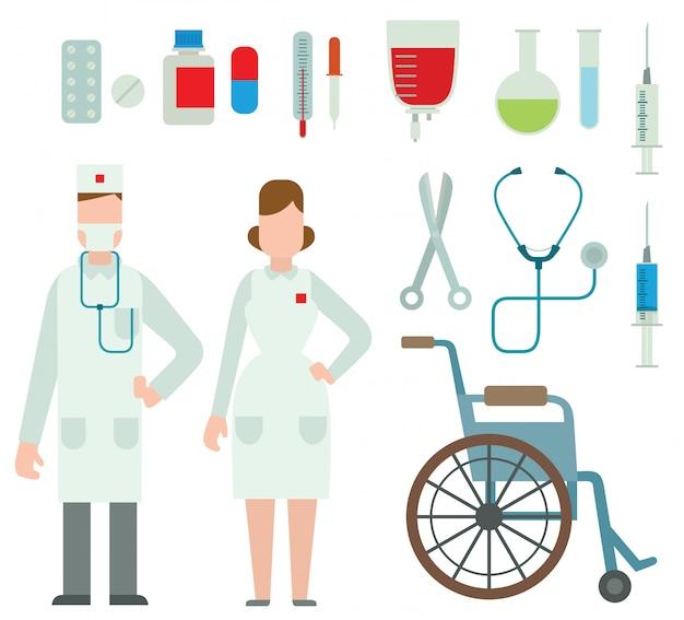 Vektorillustration von ebene farbigen krankenwagendoktoren. Premium Vektoren
