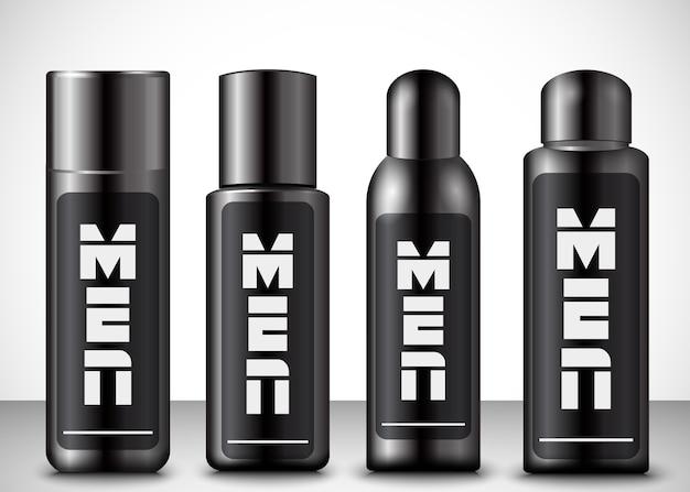 Vektorillustration von kosmetischen flaschen der männer Premium Vektoren