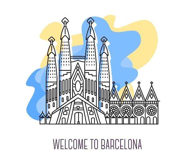 Vektorillustration von la sagrada familia. wahrzeichen von barcelona. symbol von spanien. besichtigung europas. Premium Vektoren