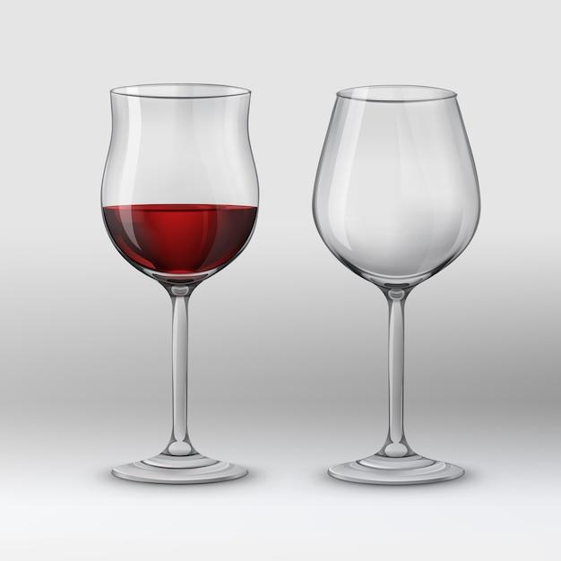 Vektorillustration. zwei arten von weingläsern für rotwein. auf grauem hintergrund isoliert Kostenlosen Vektoren