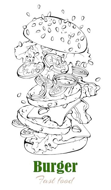 Vektorillustrationen auf dem schnellimbissthema: burger. Premium Vektoren