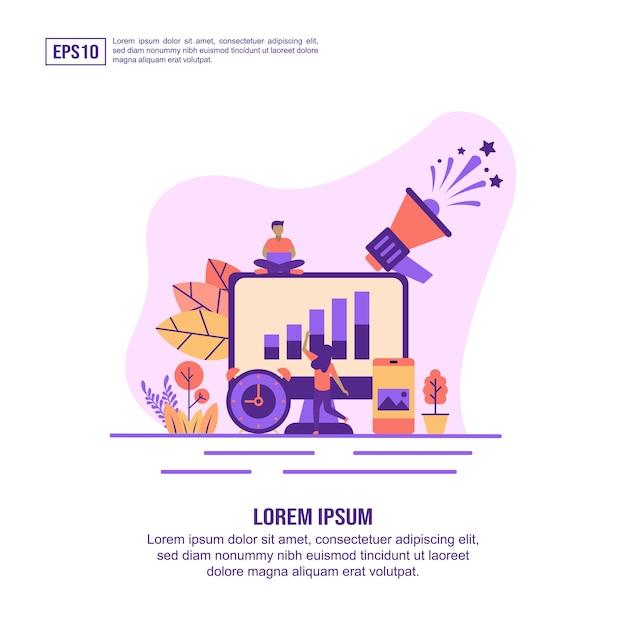 Vektorillustrationskonzept des online-marketings Premium Vektoren