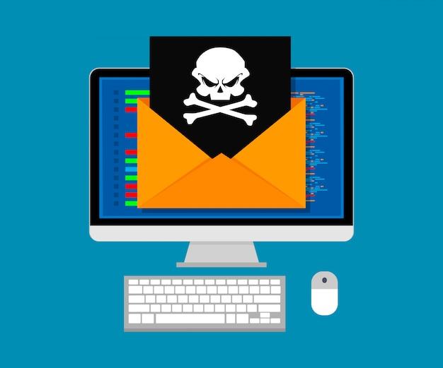 Vektorillustrationskonzept des virus und des hackens. umschlag mit schädel auf bildschirmcomputer. flaches design. Premium Vektoren