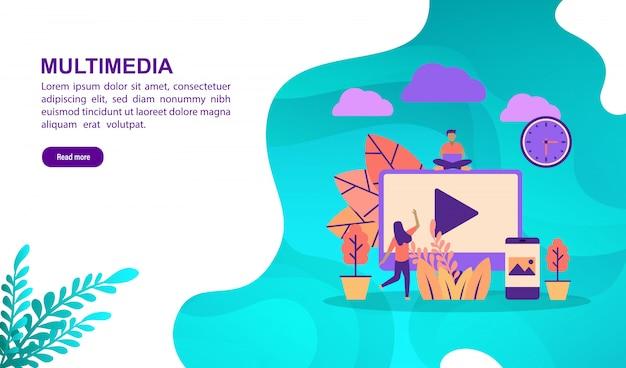 Vektorillustrationskonzept von multimedia mit charakter. zielseitenvorlage Premium Vektoren
