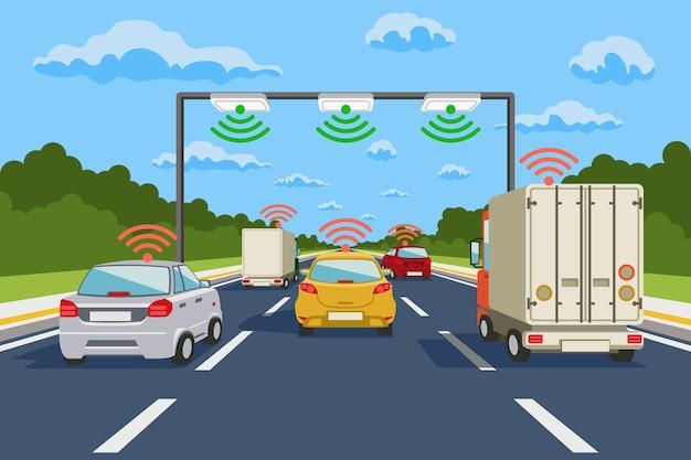 Vektorinfografiken des autobahnkommunikationssystems. straßenkommunikation, autobahnsystemkommunikationsillustration Kostenlosen Vektoren