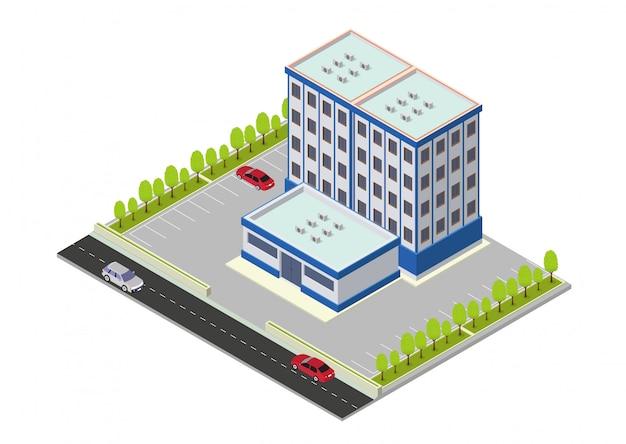 Vektorisometrisches hotel, wohnung oder wolkenkratzergebäude Premium Vektoren