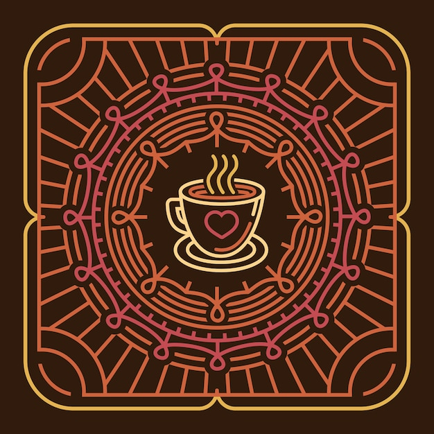 Vektorkaffeetasse auf rundem emblem Premium Vektoren