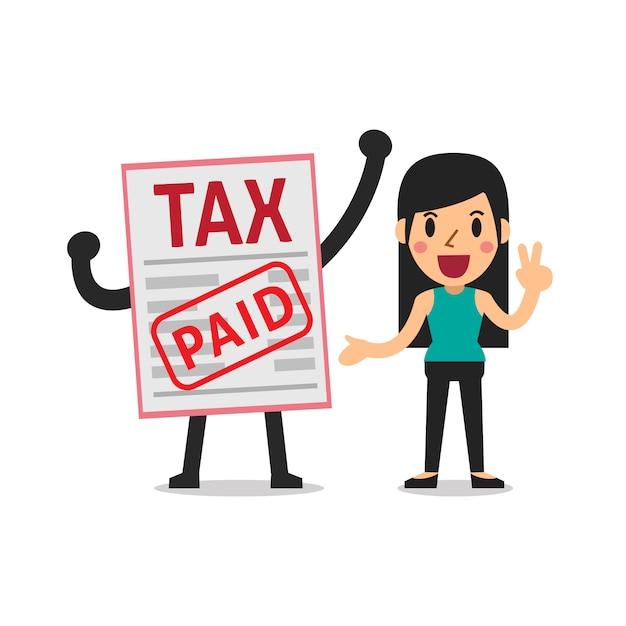 Vektorkarikatur eine frau bezahlte steuer Premium Vektoren