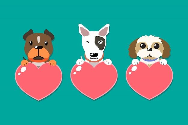 Vektorkarikaturhunde mit den herzzeichen eingestellt Premium Vektoren