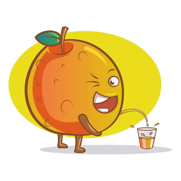 Vektorkarikaturillustration der netten orange. Premium Vektoren