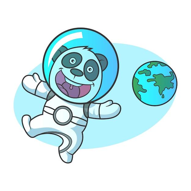 Vektorkarikaturillustration des netten pandaroboters. Premium Vektoren