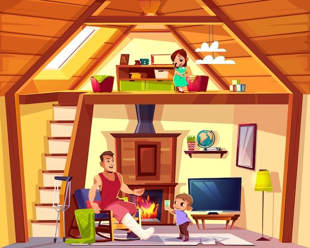 Vektorkarikaturinnenraum des hauses mit familie. behinderter vater mit helfendem sohn im wohnzimmer. mädchen Kostenlosen Vektoren