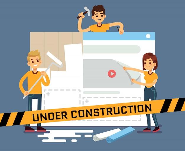 Vektorkarikaturkonzept der website im bau mit netzdesignern. seite der website im bau, illustration des internet-konstrukts und entwicklung Premium Vektoren