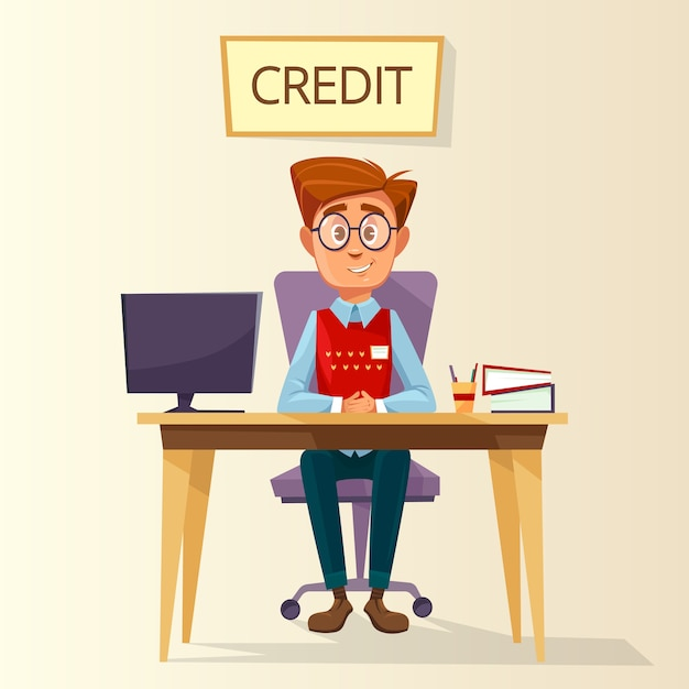Vektorkarikaturmanager im kreditbüroplatz Premium Vektoren