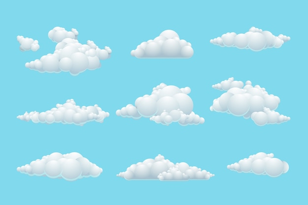 Vektorkarikaturwolkensatz. weißes element wetter, blauer himmel Kostenlosen Vektoren