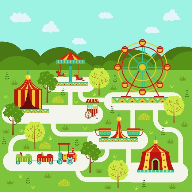 Vektorkarte des vergnügungsparks mit anziehungskräften Premium Vektoren