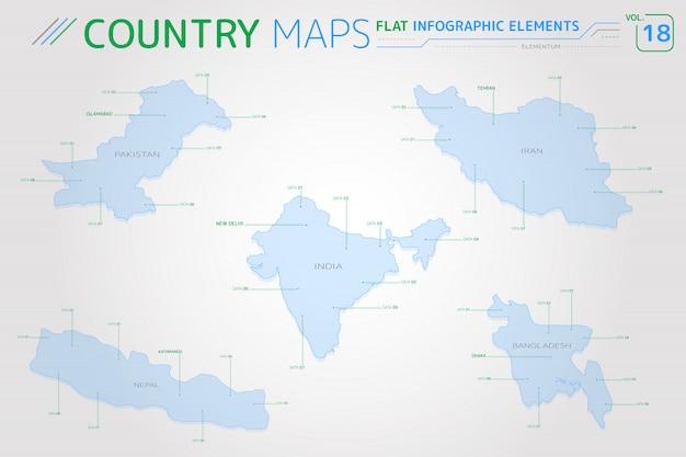 Vektorkarten von pakistan, indien, bangladesch, iran und nepal Premium Vektoren