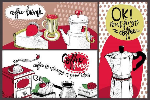 Vektorkartendesign mit hand gezeichneter kaffee- und nachtischillustration. Premium Vektoren