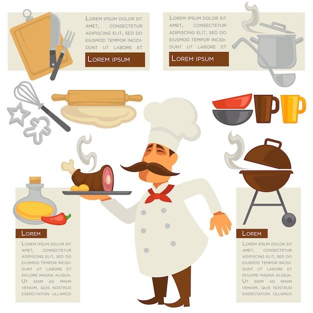 Vektorkoch- und küchesymbole. Premium Vektoren