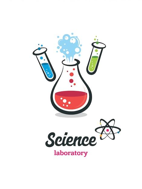 Vektorlabor, chemikalie, logo des medizinischen tests Premium Vektoren