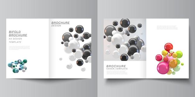 Vektorlayout von zwei a4-cover-modellvorlagen für bifold-broschüre, flyer. abstrakter hintergrund mit bunten 3d-kugeln Premium Vektoren