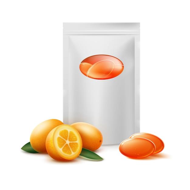 Vektorleerpackung der orange zitrusbonbons mit kumquatfrucht schließen vorderansicht lokalisiert auf weißem hintergrund Kostenlosen Vektoren