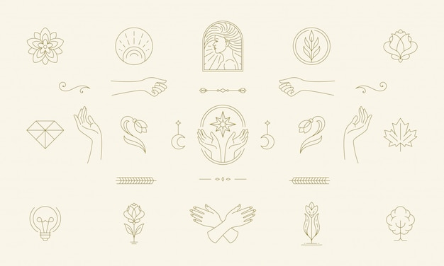 Vektorlinie feminine dekoration design-elemente gesetzt - weibliche gesicht und geste hände illustrationen einfachen linearen stil Premium Vektoren