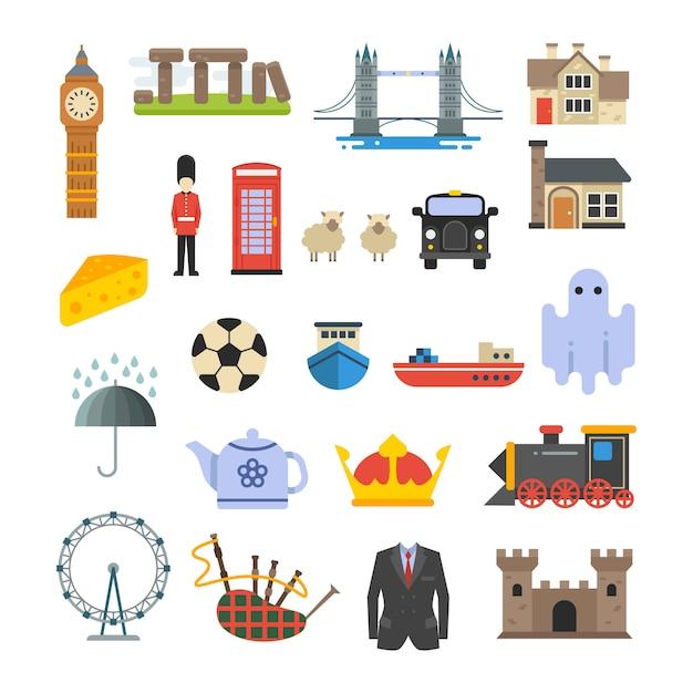 Vektormerkmale englands, briten, großbritannien gesetzt Premium Vektoren