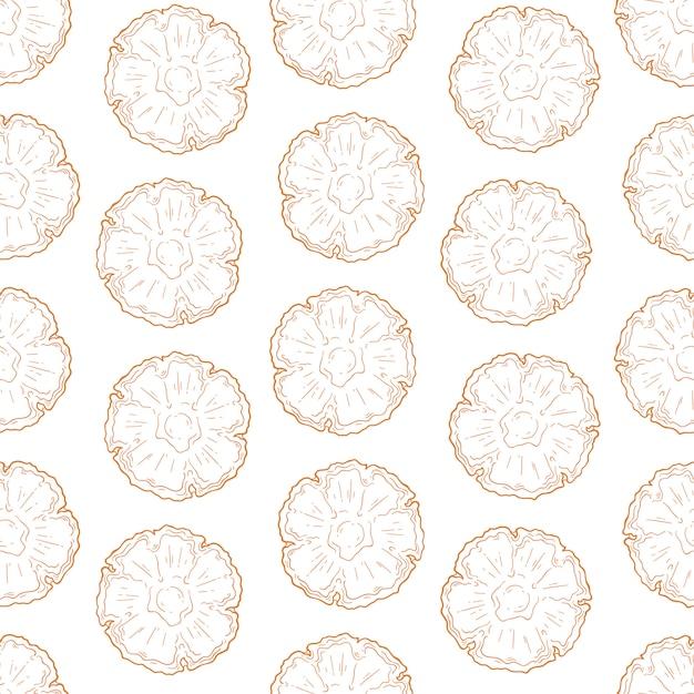 Vektormuster von ananas in der skizzenart. Premium Vektoren