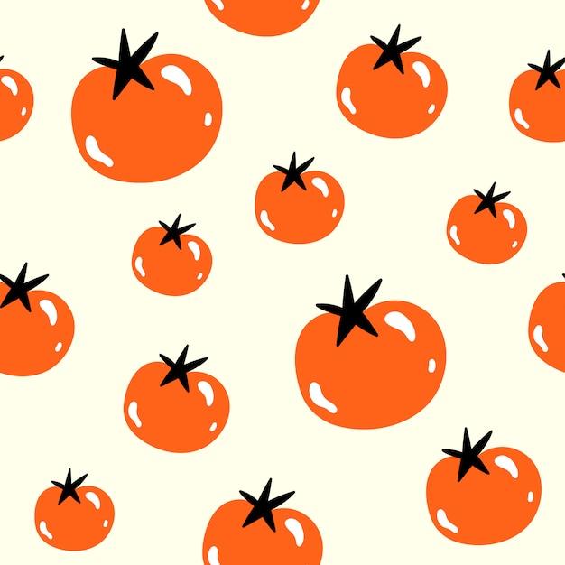 Vektornahtloses muster in der gekritzelart. tomaten. Premium Vektoren