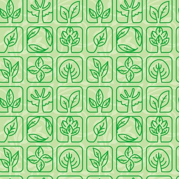 Vektornahtloses muster mit ökologiesymbolen Premium Vektoren