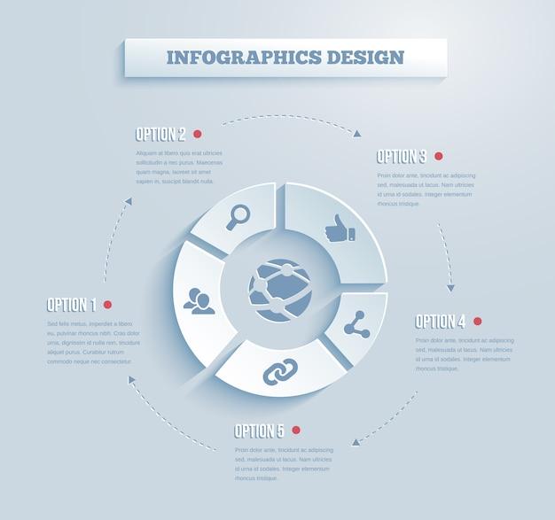 Vektorpapier-infografiken mit social media- und netzwerksymbolen, die links zeigen Kostenlosen Vektoren