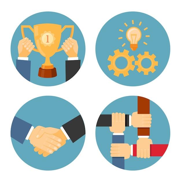 Vektorpartnerschafts-, gegenseitigkeits- und kooperationskonzepte geschäftsillustrationen Kostenlosen Vektoren