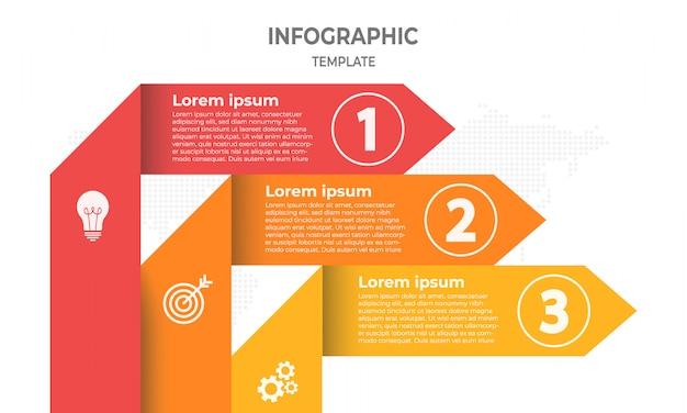 Vektorpfeile linien infografiken 3 optionen. Premium Vektoren