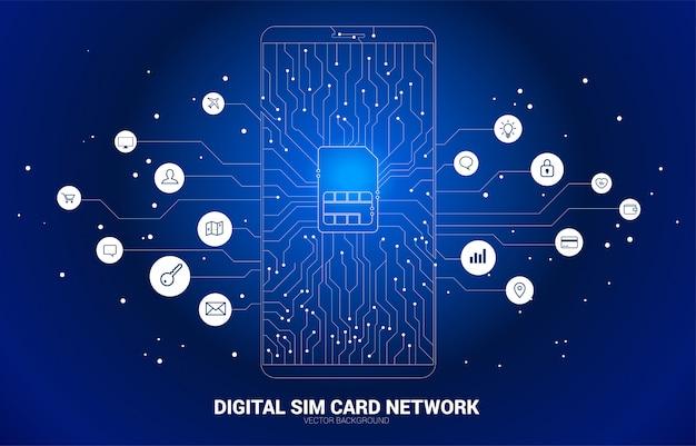 Vektorpolygonpunkt schließen linie geformte sim-kartenikone in der handyleiterplattenart mit funktionsikone an. konzept für mobile sim-kartentechnologie und netzwerk. Premium Vektoren