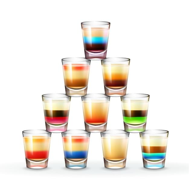Vektorpyramide von verschiedenfarbigen gestreiften alkoholischen aufnahmen lokalisiert auf weißem hintergrund Kostenlosen Vektoren