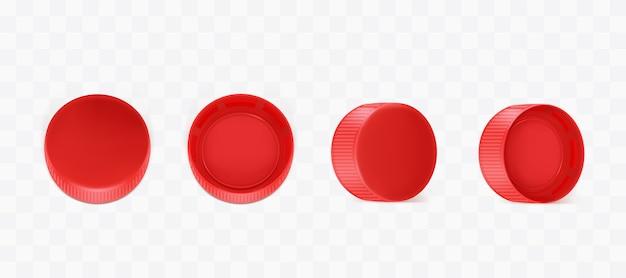 Vektorrealistische rote plastikflaschenkapseln Kostenlosen Vektoren