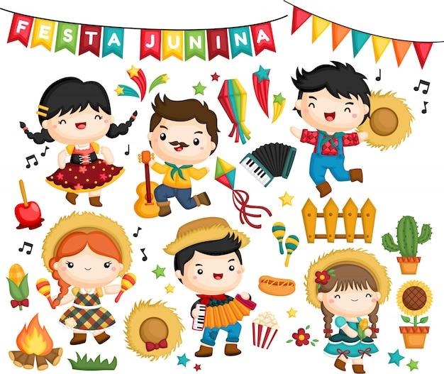 Vektorsammlung der feier des festa junina festivals Kostenlosen Vektoren