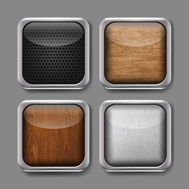 Vektorsatz app-knöpfe. icons mit metall modernen rahmen und holz, metallic, carbon-finish. Premium Vektoren