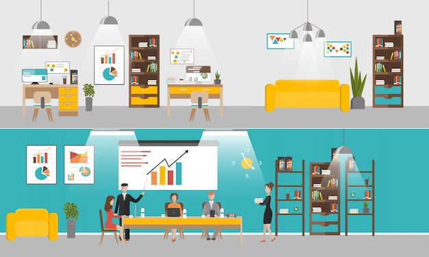 Vektorsatz büroinnenfahnen im flachen artdesign. geschäftsleute und büroangestellte. Premium Vektoren
