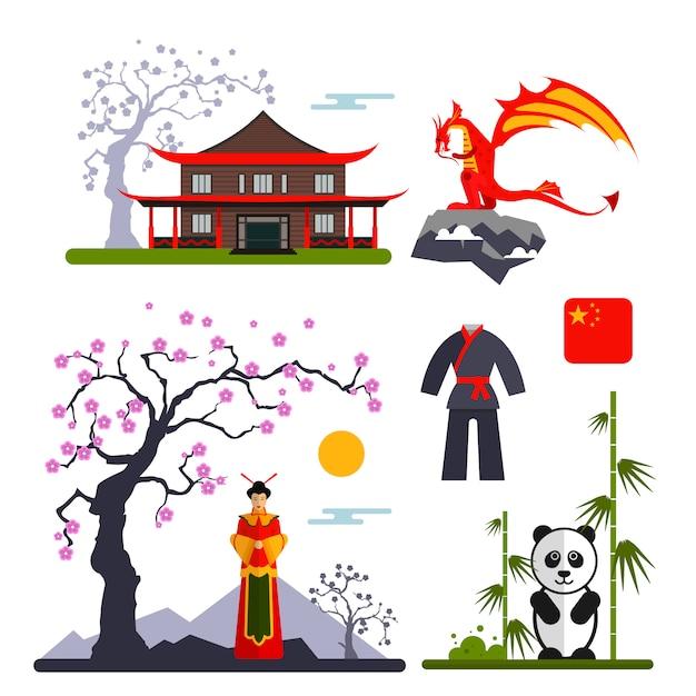 Vektorsatz china-charaktere mit drachen, frau im kimono, im panda und im chinesischen haus. abbildung mit china isolierten objekten. Premium Vektoren