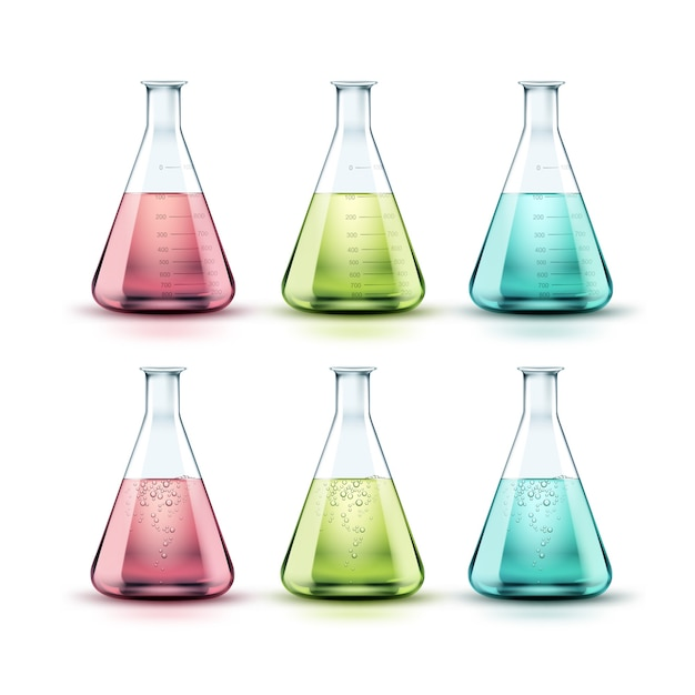 Vektorsatz der chemischen laborflaschen des transparenten glases mit grüner, rosa, blauer flüssigkeit und blasen lokalisiert auf weißem hintergrund Kostenlosen Vektoren