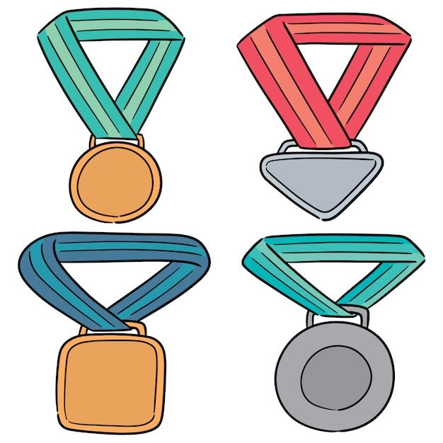 Vektorsatz der medaille Premium Vektoren