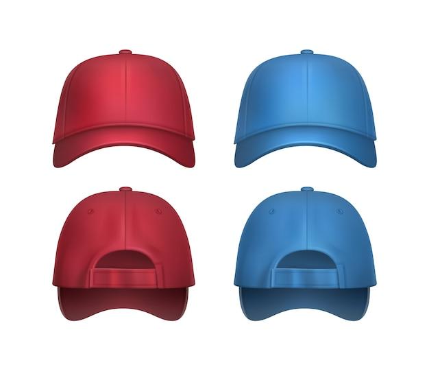 Vektorsatz der realistischen roten, blauen baseballkappen-seiten- und rückansicht lokalisiert auf weißem hintergrund Kostenlosen Vektoren