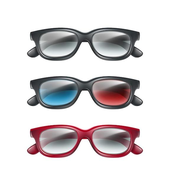 Vektorsatz der schwarzen plastik 3d brille draufsicht lokalisiert auf grauem hintergrund Kostenlosen Vektoren