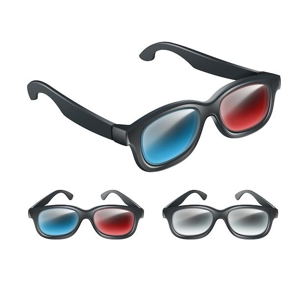 Vektorsatz der schwarzen plastik 3d brille in der perspektive lokalisiert auf grauem hintergrund Kostenlosen Vektoren