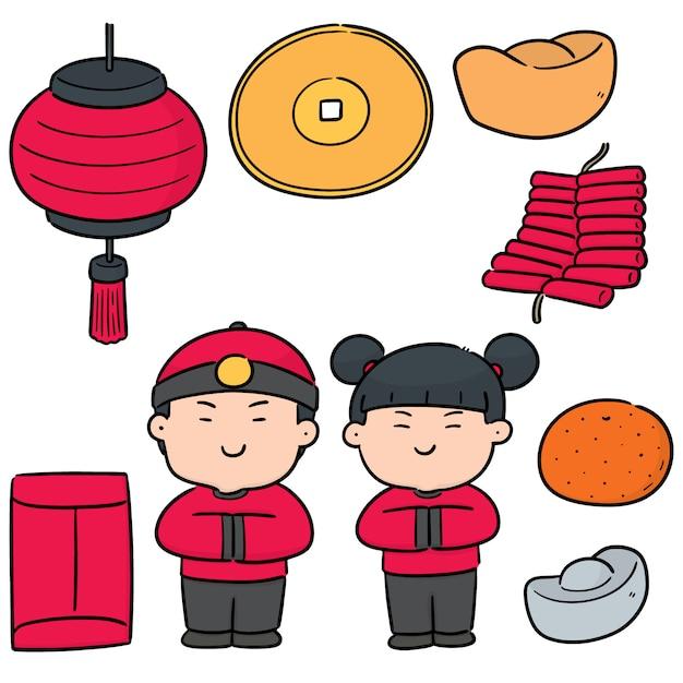 Vektorsatz des chinesischen neuen jahres Premium Vektoren